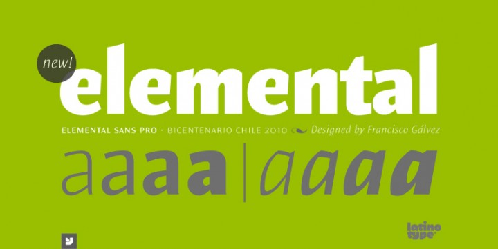 Elemental Sans Pro , designed by LatinoType.