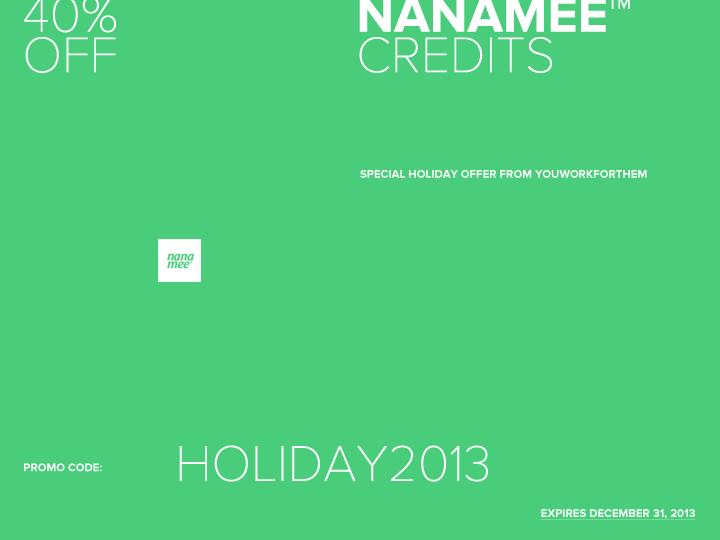 40% Off Nanamee Credits