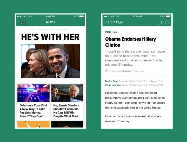 Huffington Post chooses Proxima Nova for Mobile App Success