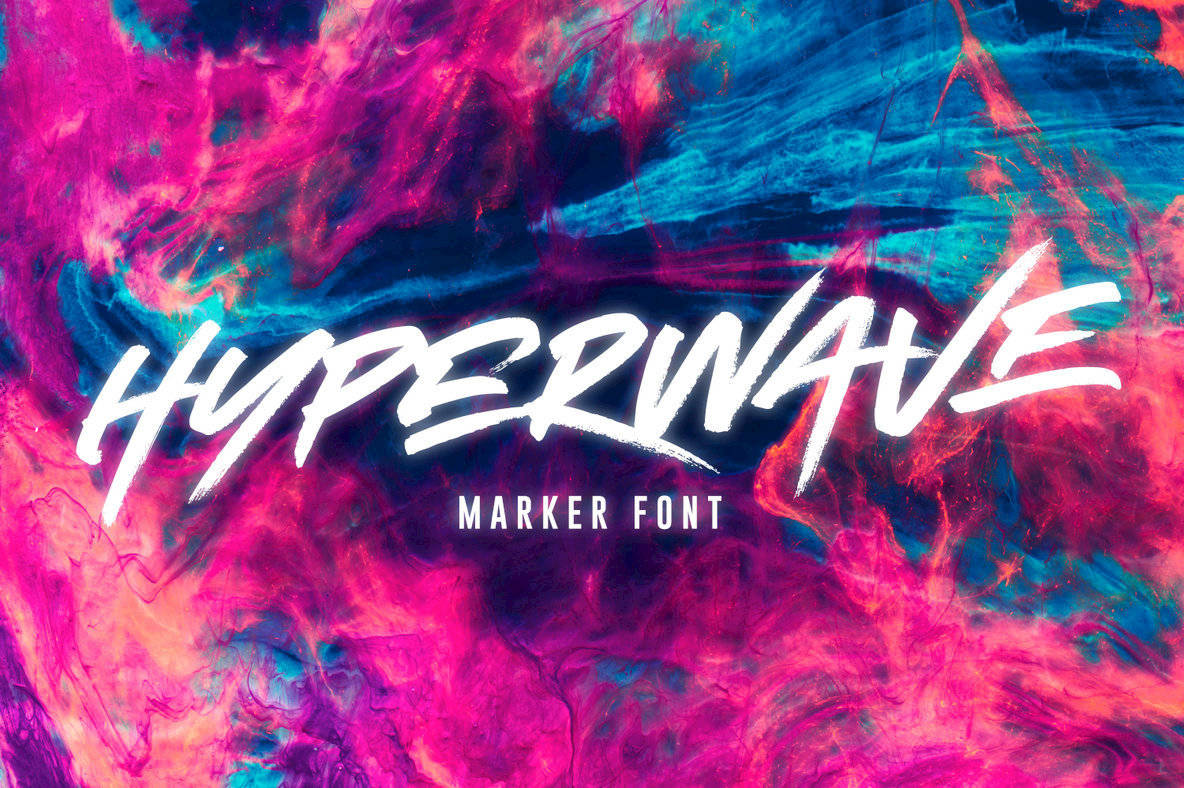 A Marker Font With Undeniable Energy From Set Sail Studios: Hyperwave