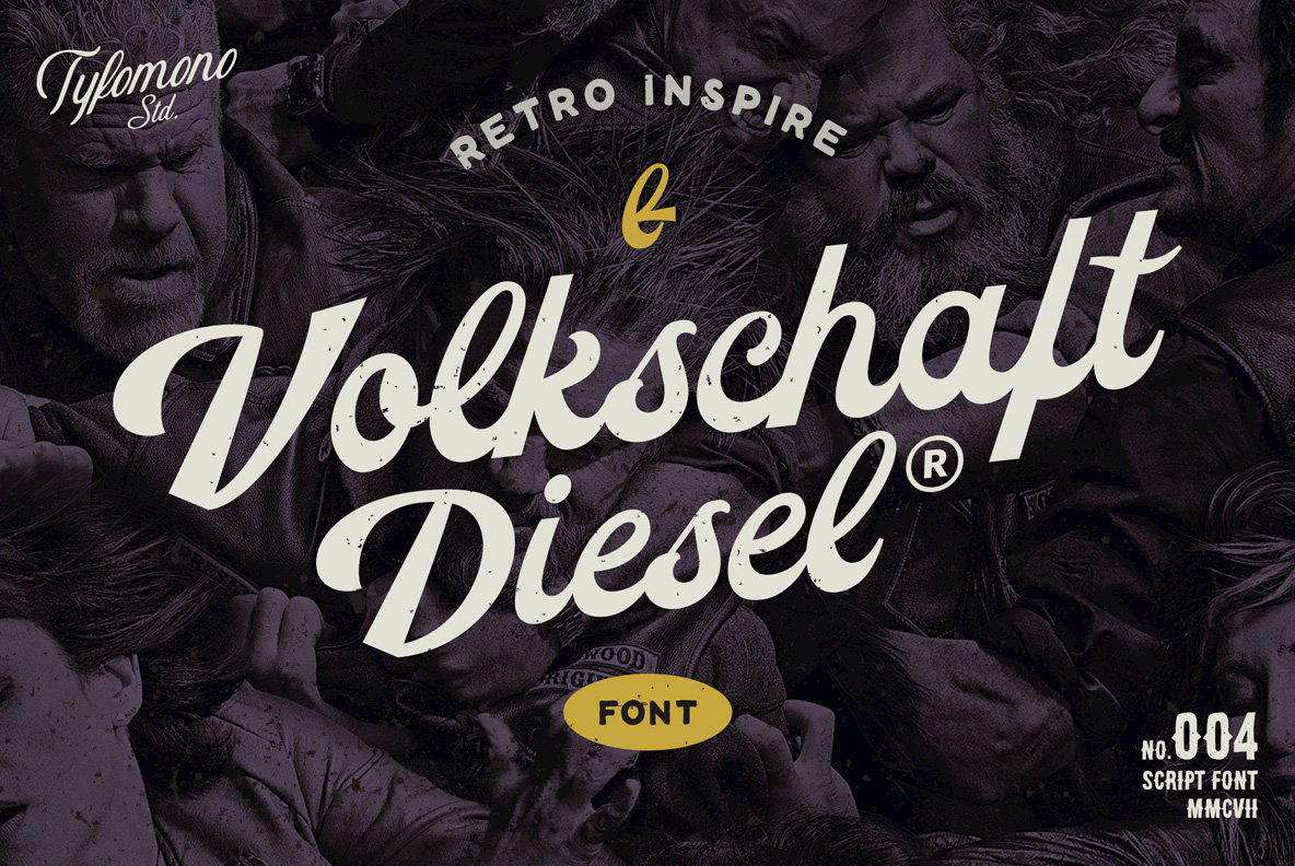 A Thick, Vintage Brush Script: Volkschaft