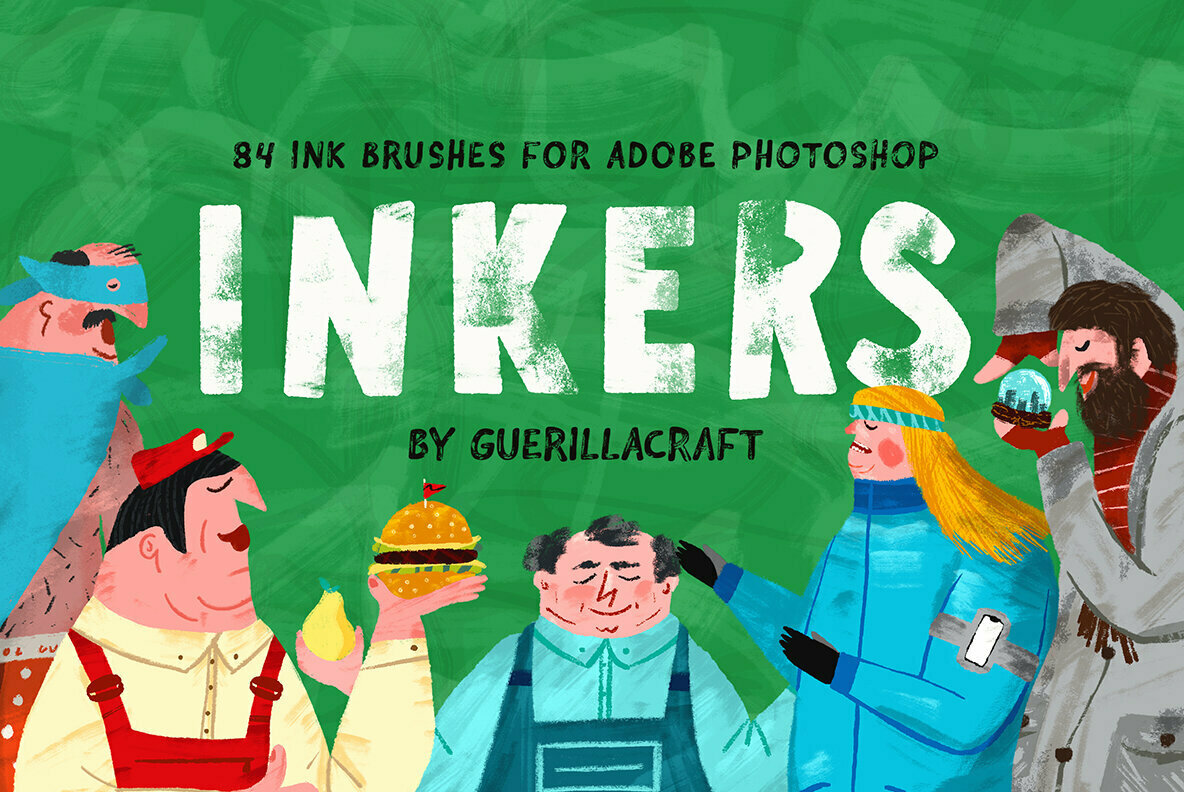 Inkers – 84 Ink Brushes for Adobe Photoshop Gives Digital