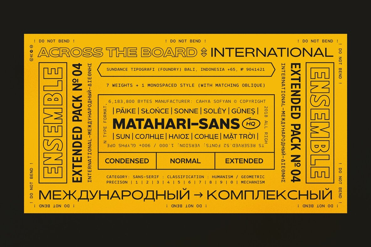 A Sans Superfamily From Cahya Sofyan: Matahari Sans | YouWorkForThem